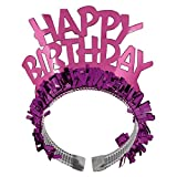 """Amscan Majestic Happy Birthday Tiara Party Wearable Favors Headwear, Silver/Pink, 6"""" x 9"""""""