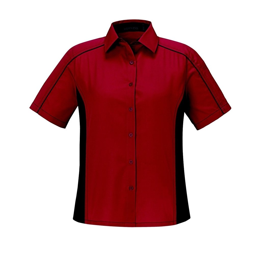 Ash City Ladies Fuse Color Block Twill Shirt (X-Small, Classic Red/Black) by Ash City Apparel