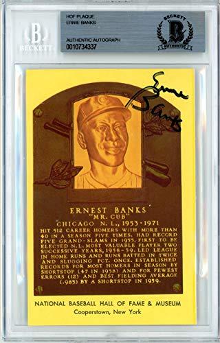 Ernie Banks Autographed HOF Plaque Postcard Chicago Cubs Beckett BAS #10734337 Beckett Authentication