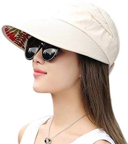 Muryobao Women's Sun Hats Foldable Wide Brim Roll Up Open Top Hat UV Protection Visor Caps for Summer Beach Golf Fishing Outdoor (Visor Cap Sporting Goods)