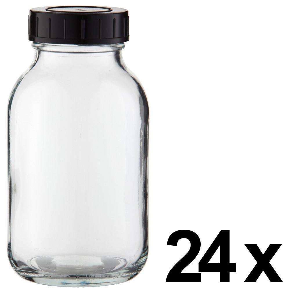 24 x Weithalsflasche 500ml Klarglas inkl. Schraubverschluss mit Dichtungsscheibe *** Weithalsflaschen, Schraubgläser, Weithalsgläser, Glasdosen, Allzweckgläser, Haushaltsgläser, Weithalsglas, Schraubglas, Allzweckglas, Haushaltsglas ***