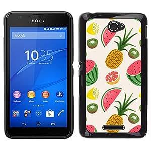 Caucho caso de Shell duro de la cubierta de accesorios de protección BY RAYDREAMMM - Sony Xperia E4 - Piña Fruit Dibujo Pintado