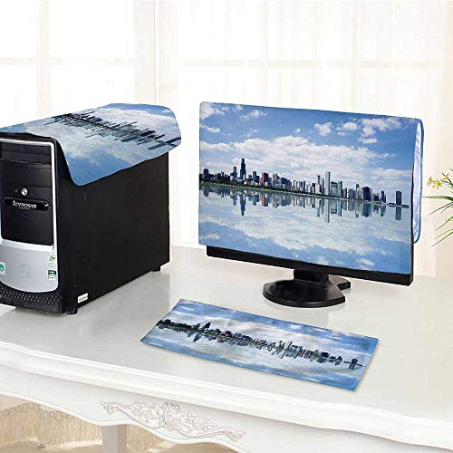 (Auraisehome Computer dust Cover Collection View of Chicago Waterfront Modern City Reflection Shore Scenery Cloudscape Imag dust Cover 3 Pieces Set /28