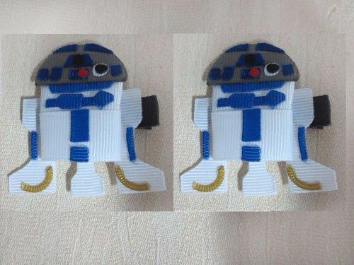 2pc Set R2D2 Star Wars Hair Bow Clips (R2d2 Hat)