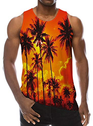 Goodstoworld Men 3D Printed Graphic Hawaiian Tropical Palm Tree Tank Tops Design Funniest Athletic Sleeveless Summer Vest Top Tee XXL