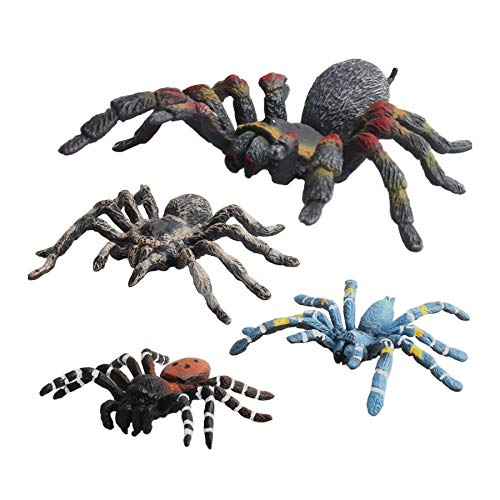 (Warmtree Simulated Spider Model Realistic Plastic Spider Figurines Action Figure for Kids' Collection Science Educational Toy, Set of 4)