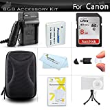 8GB Accessory Kit For Canon PowerShot SX700 HS, ELPH 500 HS, SX600 HS, D30, SX610 HS, SX710 HS Digital Camera Includes 8GB High Speed SD Memory card + Replacement NB-6L Battery + Charger + Case + More