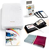 PHOTOBEE Photo Printer PhotoBook Package - White (Printer with 48 Sheets of Sticky Backed Photo Paper, 1 Burgundy Color photobook, 1 Mint Color photobook, 1 White Pen)