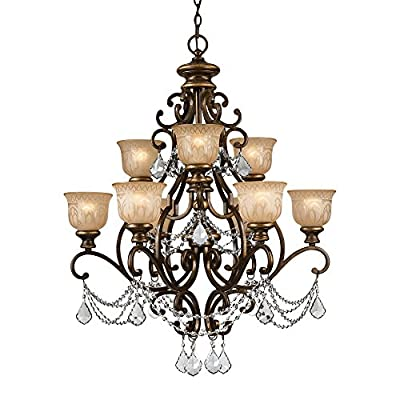 Crystorama 7509-BU-CL-I Norwalk - Nine Light Chandelier, Bronze Umber Finish with Amber Etched Glass with Italian Clear Crystal