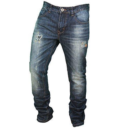 Herren Zerschlissene Jeans Slim Fit Jeans Von Soul Star - Denim - KÄFER, 28W x Lang