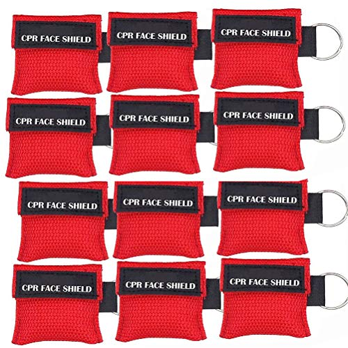 (Pack of 12pcs CPR Mask Keychain Ring Emergency Kit CPR Face Shields for First Aid or CPR Training (Red-12))