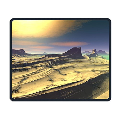 ZhiqianDF Alien Planet D Rendered Computer Artwork Rocks And Lake Heavy Thick Mouse PadFoldable Mat - Planet Angeles Los Blue