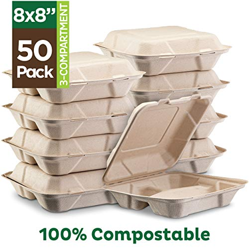 To Go Boxes (100% Compostable Clamshell Take Out Food Containers [8X8