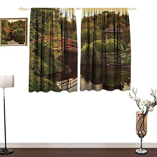 Jinguizi Japanese DecorBedroom Windproof curtainPeaceful Garden in Twilight with Reflections in The Water Red Bridge On Pond SunGreen YellowGirl Room Blackout Curtain W72 xL72