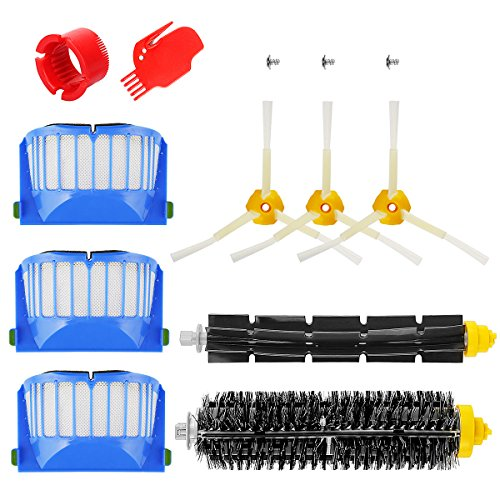 YABELLE Accessory Part Kit for iRobot Roomba 500/600,620,630,650,660,Includ Side Brush, Bristle Brush and Flexible Beater Brush, Filter and Screw, Cleaning Tool