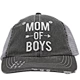 White Glitter Mom Of Boys Arrow Love Women Glittering Trucker Style Cap Hat