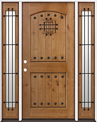 Rustic Knotty Alder Wood Entry Door with Sidelites #20, R...
