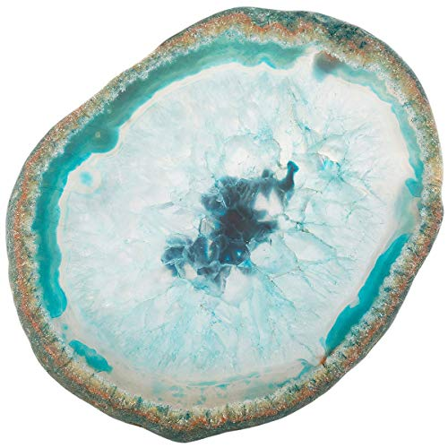 TUMBEELLUWA Natural Agate Slices Coasters Dyed Geode Stone Slab Polished Irregular Healing Crystals Decoration,Blue,Pack of 2