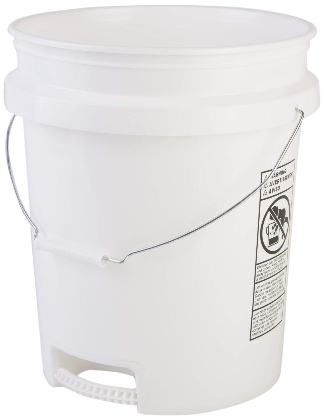 Hudson Exchange 5 Gallon Bucket with Bottom Grip Handle, HDPE, White, 14 Pack by Hudson Exchange (Image #1)