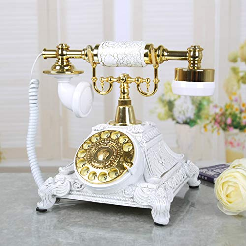 Qdid Rotating Vintage Fixed Phone Rotating Dial Antique Telephone Landline Phone Office Family Hotel by Resin European Style (Color : White) from Qdid