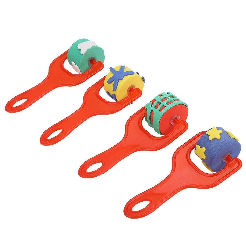 4pcs//Set Children Early Education Drawing Toys Kid Art Graffiti Painting Tools Sponge Paint Roller Brush Plastic Handle Set Red