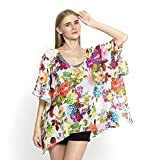 White Floral Print Pure Cotton Swimsuit Cover-ups Kimono For Women