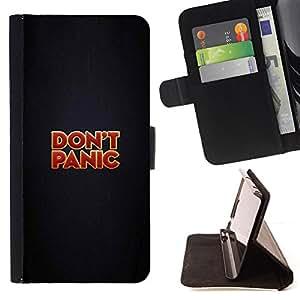 BullDog Case - FOR/HTC One M9 / - / DON'T PANIC - FUNNY - MESSAGE /- Monedero de cuero de la PU Llevar cubierta de la caja con el ID Credit Card Slots Flip funda de cuer