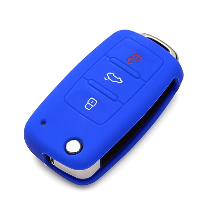 AndyGo Protective Silicone Key Cover Keyless Entry Remote Fob Shell Fit for VW Volkswagen 3 Button