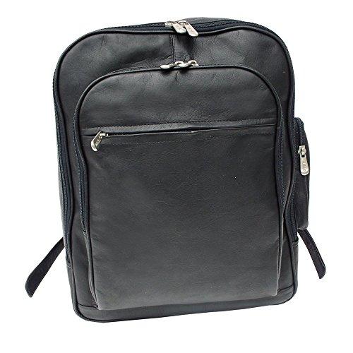 Piel Custom Personalized Leather Entrepeneur Front-Pocket Computer Backpack in Black