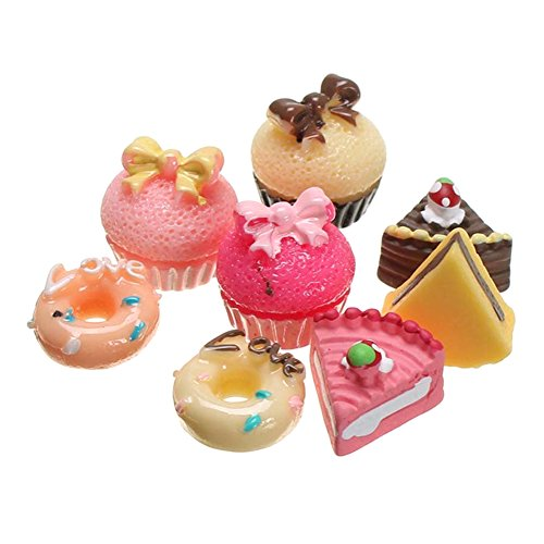 Gracefulvara 8PCS Bakery Shop Kitchen Food Cake Donuts Cupcake for 1/12 Miniature Dollhouse