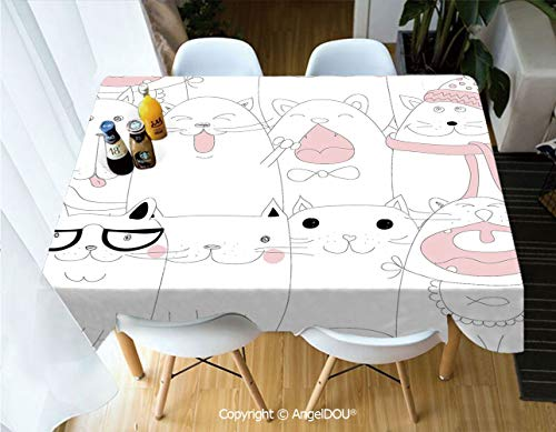 - AngelDOU Rectangle Printed Waterproof Tablecloth Many Faced Bunch of Happy Sad Sleepy Sassy Cat Caricature Kids Nursery Theme for Home Kitchen Dining Room Picnic Party,W55xL82(inch)