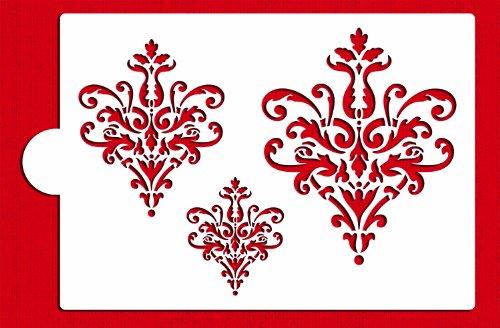 Designer Stencils C827 Large Lace Icons Stencil Set, Beige/semi-transparent