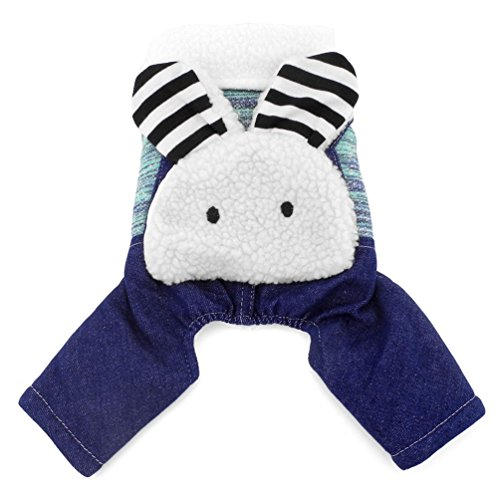 SMALLLEE_LUCKY_STORE Bunny on Back Cotton-Padded Dog Coat Four Legged Jumpsuits Cashmere, Green, -