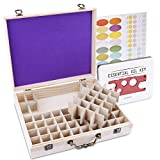 SOLIGT 72 Bottle Wooden Essential Oil Storage Box with Handle, 64 Slot for 5-15ml Essential Oils & 8 Slot for 10ml roller bottles