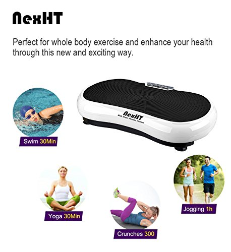 NexHT Fitness Body Shape Vibration Platform,Fit Massage Exercise Machine,Whole Body Workout Trainer with Remote Controller &Resistance Bands, Max User Weight 330lbs.(White 89007A) by NexHT (Image #1)