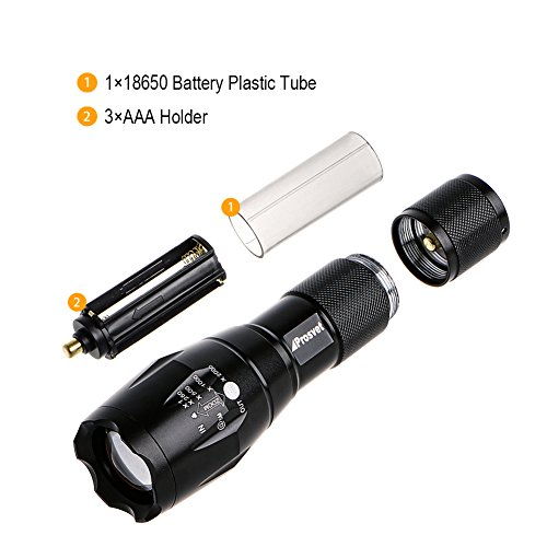 Prosvet A100 1200 Lumen Cree-XML T6 led Portable Zoomable Flashlight-5 Mode Adjustable Focus-Water Resistant-Powered By 1 x 18650 Battery or 3 x AAA Battery (Not Included)