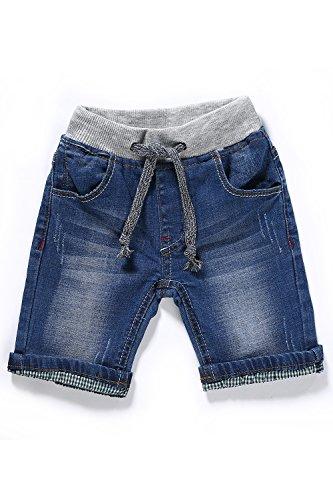 LITTLE-GUEST Baby Boys' Clothes Blue Knee-Length Jeans Shorts B210 (9-12 Months, Light Blue) -