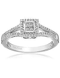 10k White Gold Diamond (1/4cttw, H-I Color, I2-I3 Clarity) Promise Ring