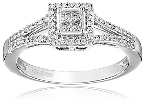 10K White Gold Princess Cut Diamond Promise Ring (1/4cttw), Size 7 by Amazon Collection