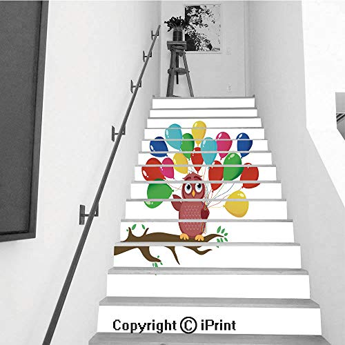 Stair Stickers Wall Stickers,13 PCS Self-Adhesive,Stair Riser Decal for Living Room, Hall, Kids Room,Cute owl Sitting on a Branch and Holding Many Colorful Balloons Greeting Card or Birthday and Val