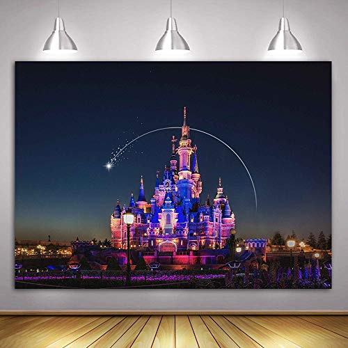 - MME 10x7Ft Cartoon Castle Backdrop Amusement Park Beautiful Night Colorful Lights Children Background Newborn Child Video Props Studio GEME051