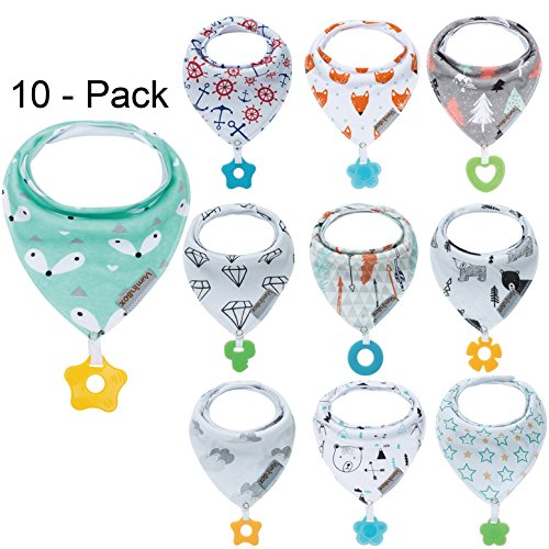 Baby Bandana Drool Bibs and Teething Toys Made with 100% Organic Cotton, Super Absorbent and Soft Unisex (Vuminbox) (10 -Pack Unisex)