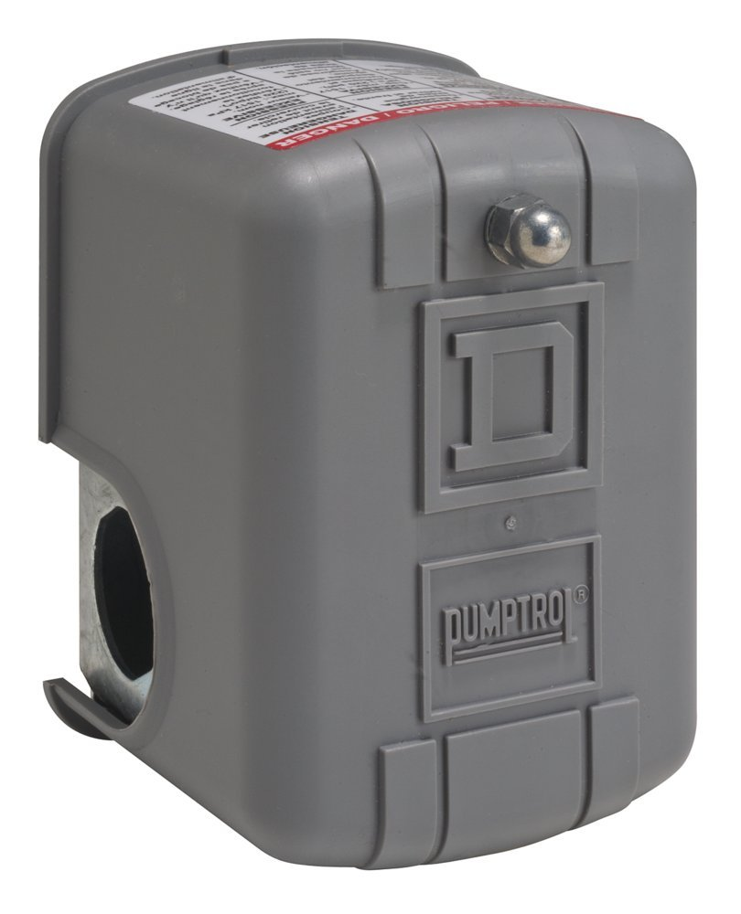 Square D by Schneider Electric 9013FRG32J36P Air-Pump Pressure Switch, NEMA 1, 10-5 psi Pressure Setting, 4-25 psi Cut-Out, 6-20 psi Reverse-Acting Adjustable Differential, Pulsation Plug