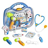 Yoptote Doctor Kit Pretend Toys Learning Gift Medical Case Role Play Sets with 10 PCS for Kids Boys Girls Age 3 and Up