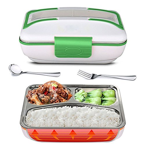 YOUDirect Electric Heating Bento Lunch Box - Portable Meal Heater Food Warmer Stainless Steel Plug Heating Food Container Leak-Proof Electronic Food Boxes for Home Office Use 110V (Green)