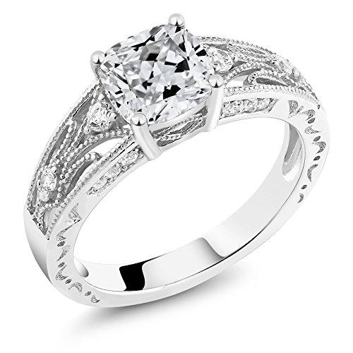 1.40 Ct White 925 Sterling Silver Ring Made With Swarovski Zirconia - Swarovski Emerald Ring