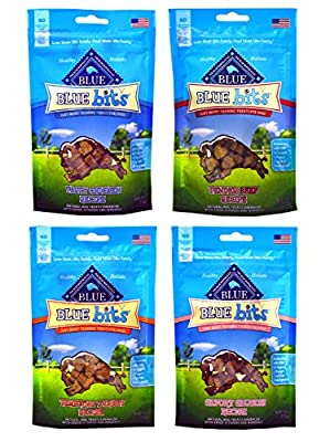 Blue Pack of 4 Buffalo Treats Bits Dog Treats Pouches, 4 Flavors (Savory Salmon, Tasty Chicken, Tender Beef and Tempting Turkey), 4 oz., Blue by Bule Buffalo