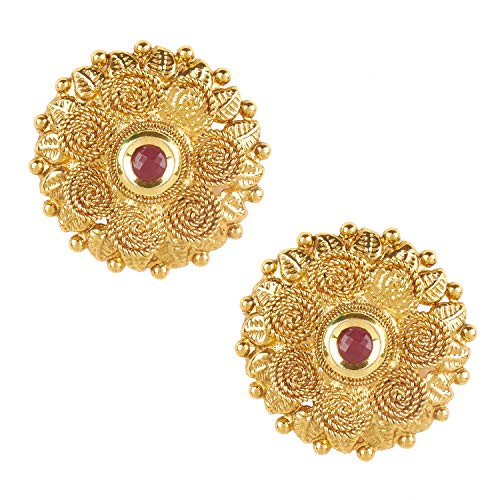 (Bodha 22K Bollywood Traditional Indian Kundan Coin Gold Stud Earrings For Women (SJ_1431))