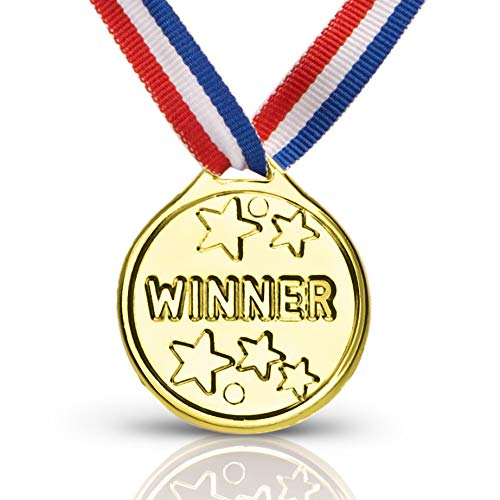 Neliblu Gold Winner Award Medals Ribbon Necklaces Bulk Pack of 24 Olympic Medals]()
