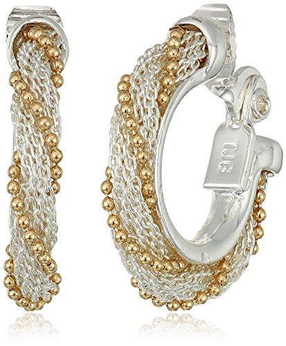 (Napier Women's Two-Tone Small EZ Comfort Clip Wrap Hoop Earrings)